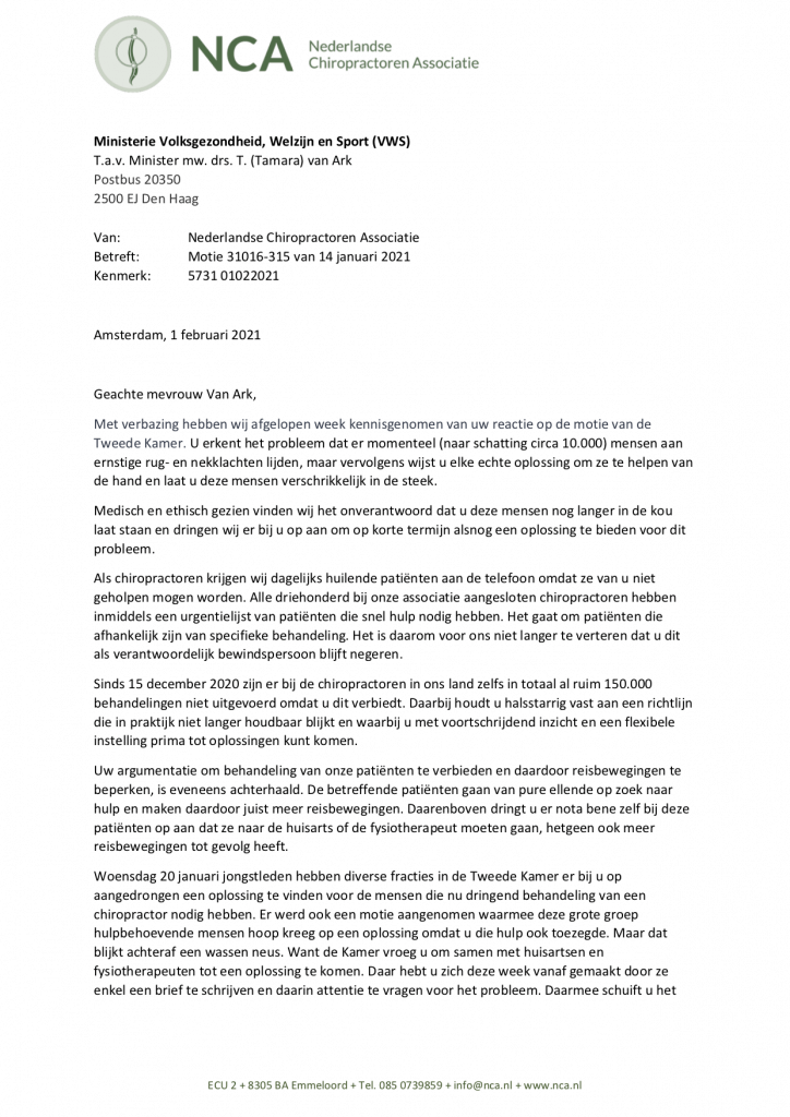 NCA brief aan minister T van ARK (VWS) inzake uitvoering motie 31016-315